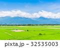 安曇野 田園風景 水田の写真 32535003