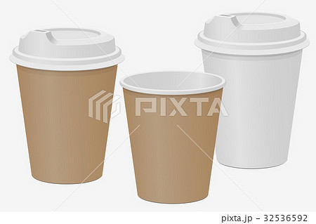 Beige and white paper cups for hot drinks. Coffee 32536592