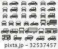 シンプルな車の正面と横(グレーシルエット) 32537457
