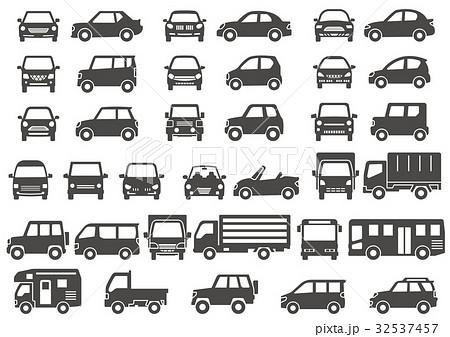 シンプルな車の正面と横グレーシルエットのイラスト素材 32537457
