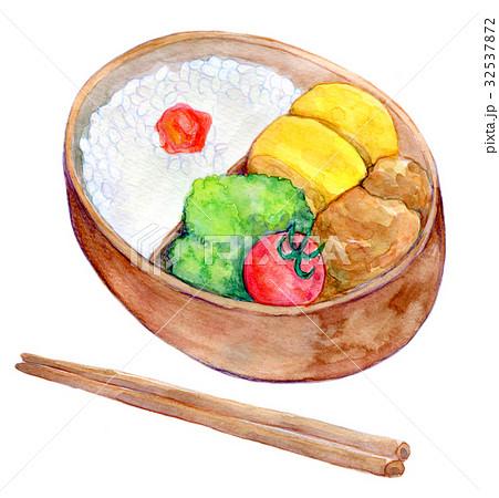 水彩イラスト 食品 お弁当 32537872