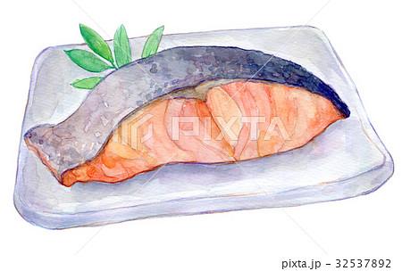 水彩イラスト 食品 焼き鮭 32537892