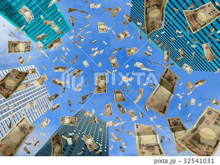 高層ビルに舞う一万円札 32541031