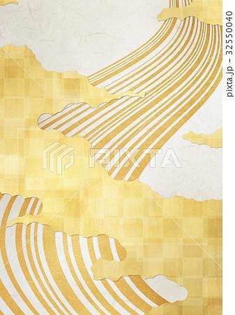 和を感じる背景素材(金箔、雲、流線) 32550040