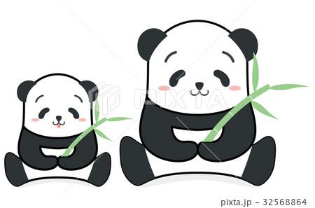 笹をもっているほのぼのパンダの親子イラスト正面 32568864