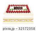 スクエアケーキ デコレーションケーキ バースデーケーキのイラスト 32572358