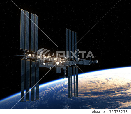 Flight Of International Space Station Over The 32573233
