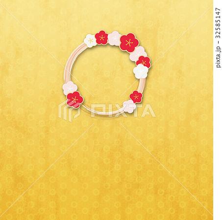 梅の輪(背景素材)_金_桜a 32585147