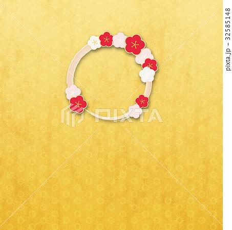 梅の輪(背景素材)_金_桜a 32585148