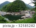 信州 木曽路の景勝 寝覚の床 全景 超広角 木曽川に侵食された奇岩がならぶ 32585282
