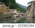 信州 木曽路の景勝 寝覚の床 仰観 木曽川に侵食された奇岩がならぶ 浦島太郎伝説も残る 32585294