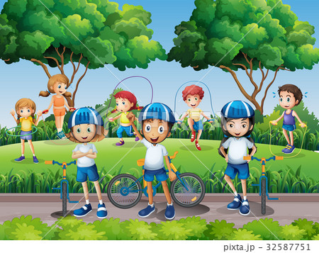 Children exercising in the park 32587751