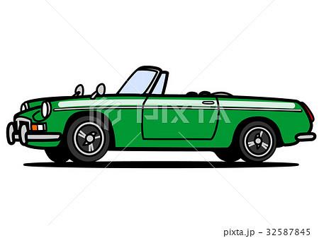 ヒストリックオープンカー グリーン 自動車イラスト 32587845