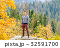 Tourist hiking in Sequoia National Park at autumn 32591700