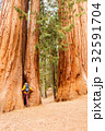 Tourist with backpack hiking in Sequoia National Park 32591704