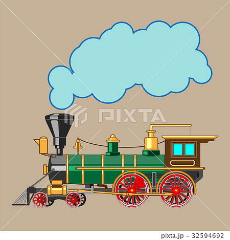 Bright cartoon steam locomotive 32594692