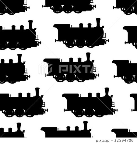 Silhouette steam locomotive seamless background 32594706