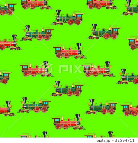 Bright cartoon steam locomotive seamless 32594711