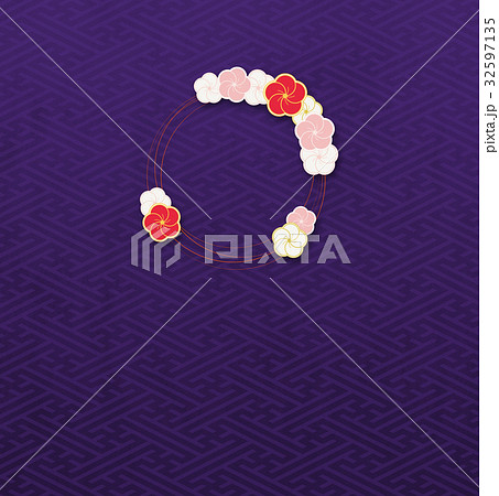 梅の輪(背景素材)_紗綾形b 32597135