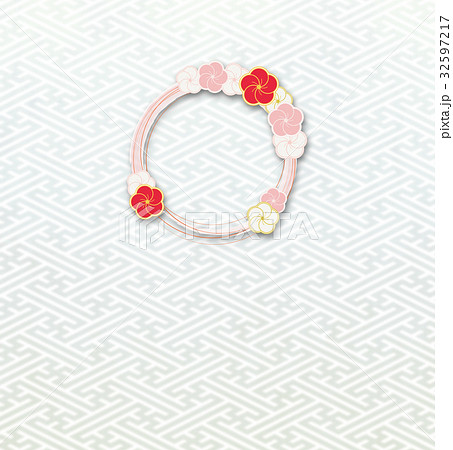 梅の輪(背景素材)_紗綾形b 32597217