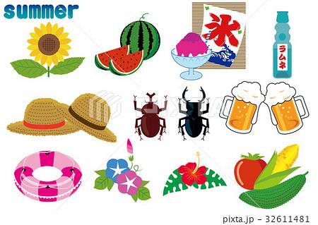 夏のイメージ アイコン|イラスト サマーイメージ 32611481