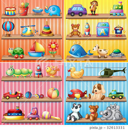 Different types of toys on the shelves 32613331