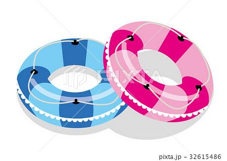 夏のイメージのイラストペアの浮き輪のイラスト素材 32615486 Pixta