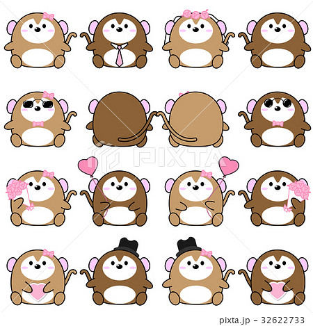Lovely cute couple cartoon monkey collection set 32622733