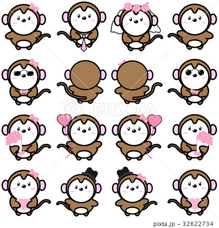 Lovely cute couple cartoon monkey collection set 32622734