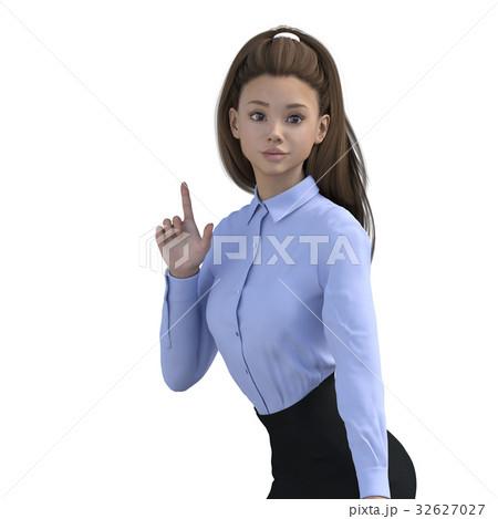 ポーズするビジネスウェアの女性 ビジネスウーマン perming3DCGイラスト素材 32627027