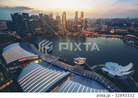 Singapore Skyline at Marina Bay from Aerial View 32643332