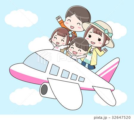 飛行機で旅行に行く家族(長袖) 32647520