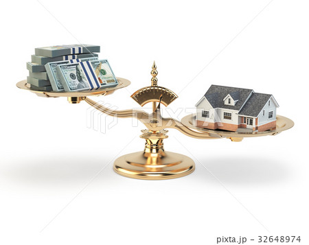Scales with house and money. Real estate  32648974