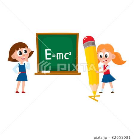 School girls - answering at lesson, writingのイラスト素材 [32655081] - PIXTA