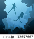 Square illustration of divers under water. 32657667