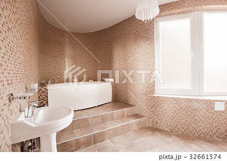 Modern luxury bathroom with bathtub and windowの写真素材 [32661574] - PIXTA