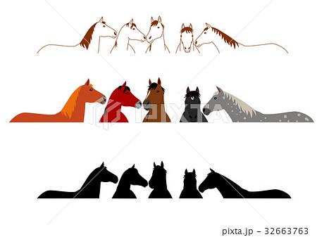 馬のグループ 上半身 セット 32663763
