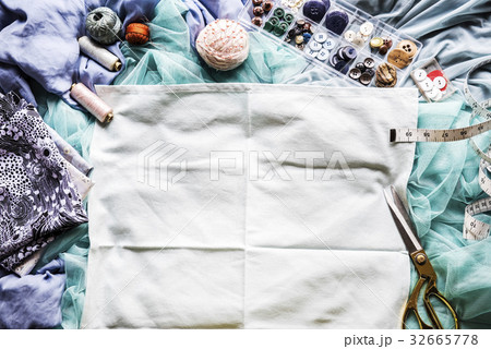 Garment and textile with sewing equipmentの写真素材 [32665778] - PIXTA