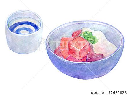 水彩イラスト 食品 まぐろぶつ 32682828