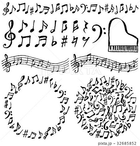 音符 音楽 広告用イラスト 手書きのイラスト素材 32685852 Pixta