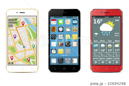 Smartphones with apps icons, weather, GPS widgets 32694298