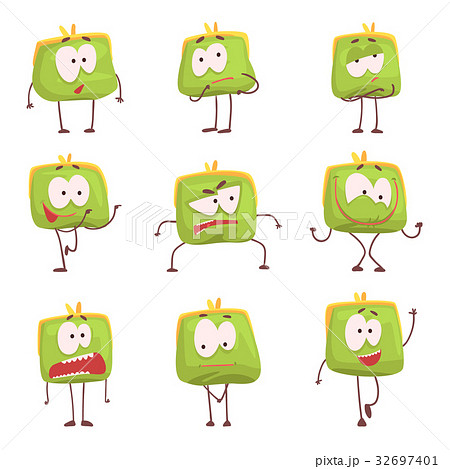 Cute green humanized purse with funny faces set of 32697401