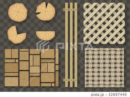 Set of different wooden elementsのイラスト素材 [32697440] - PIXTA