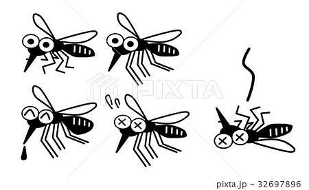 蚊の表情セット 白黒バージョン 32697896