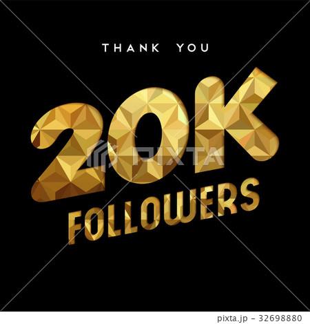 20k gold internet follower number thank you card 32698880