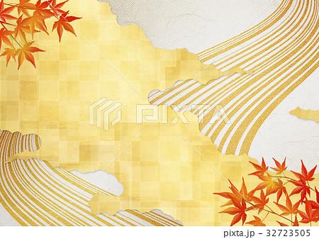 和を感じる背景素材(金箔、雲、流線、紅葉) 32723505