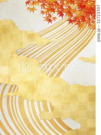 和を感じる背景素材(金箔、雲、流線、もみじ) 32723507