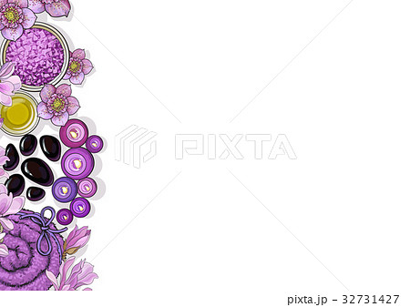 banner template with spa accessories and flowersのイラスト素材