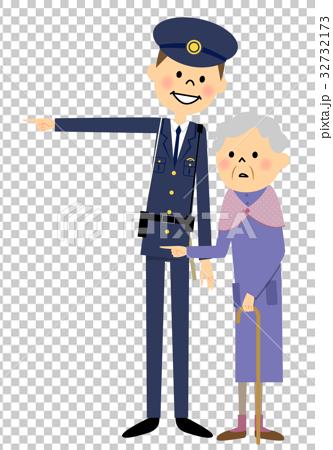 警察官とシニア女性 32732173