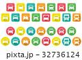 デフォルメした車のアイコン(角丸長方形と円形) 32736124